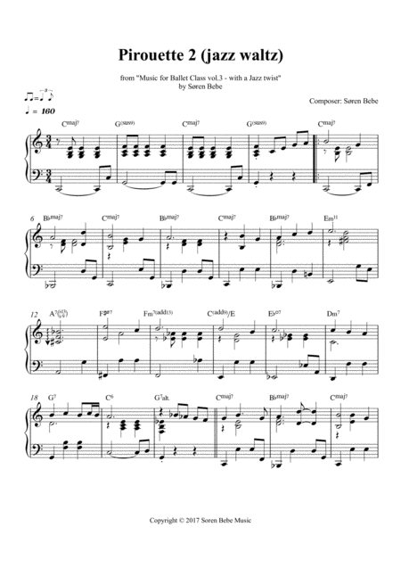Pirouette Jazz Waltz Sheet Music For Ballet Class From Music For Ballet Class Vol 3 With A Jazz Twist By Sren Bebe
