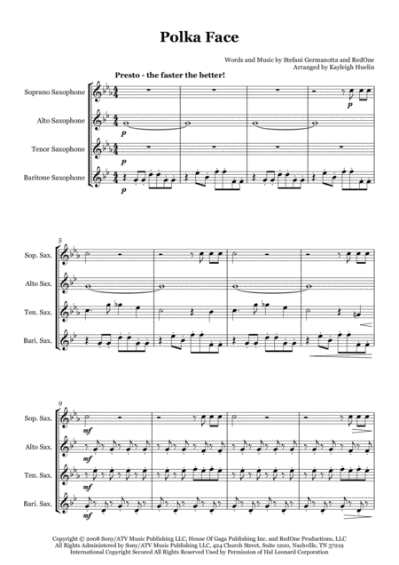 Poker Face Polka By Lady Gaga Saxophone Quartet Satb