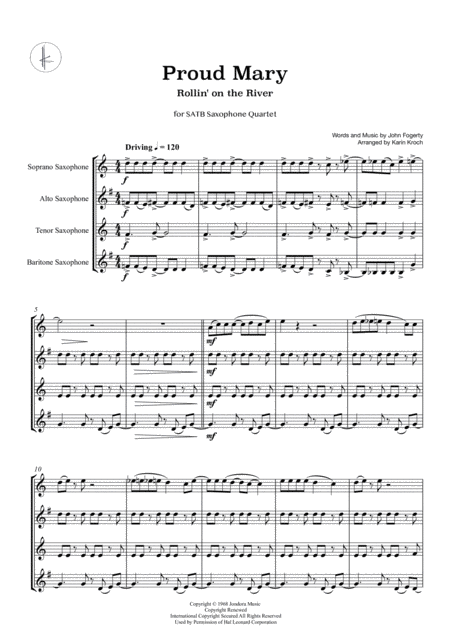Proud Mary Rollin On The River Saxophone Quartet Satb