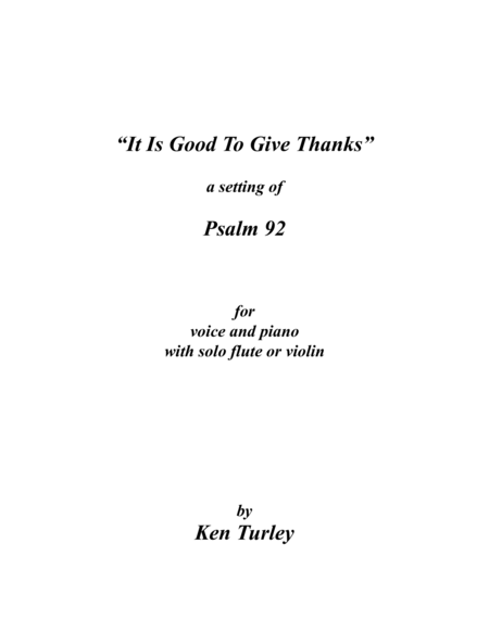Psalm 92 It Is Good To Give Thanks To The Lord