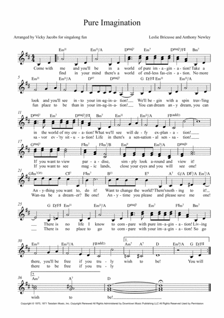 Pure Imagination Lead Sheet For Singalongs
