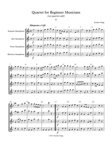 Quartet For Beginner Musicians Sax Quartet Satb