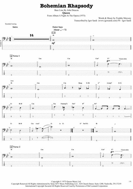 Queen Bohemian Rhapsody Accurate Bass Transcription Whit Tab