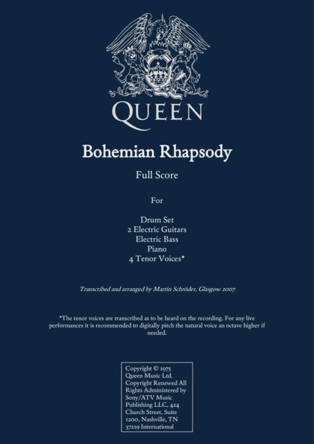 Queen Bohemian Rhapsody For Rock Band And 4 Tenor Voices Transcription