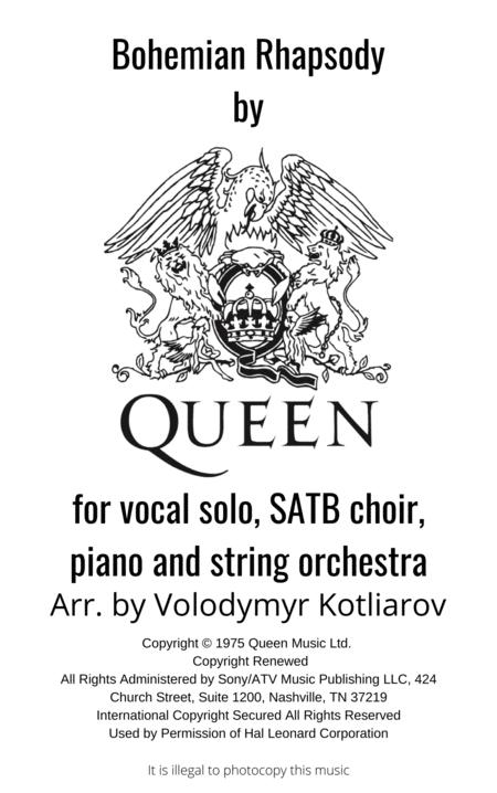 Queen Bohemian Rhapsody For Vocal Satb Choir Piano And String Orchestra