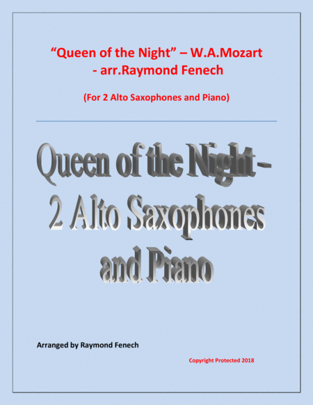 Queen Of The Night From The Magic Flute 2 Alto Saxes And Piano