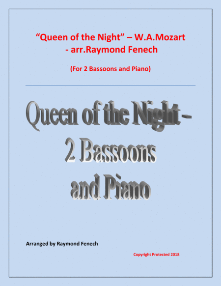 Queen Of The Night From The Magic Flute 2 Bassoons And Piano