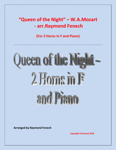 Queen Of The Night From The Magic Flute 2 Horns In F And Piano