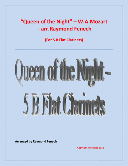 Queen Of The Night From The Magic Flute 5 B Flat Clarinets Quintet