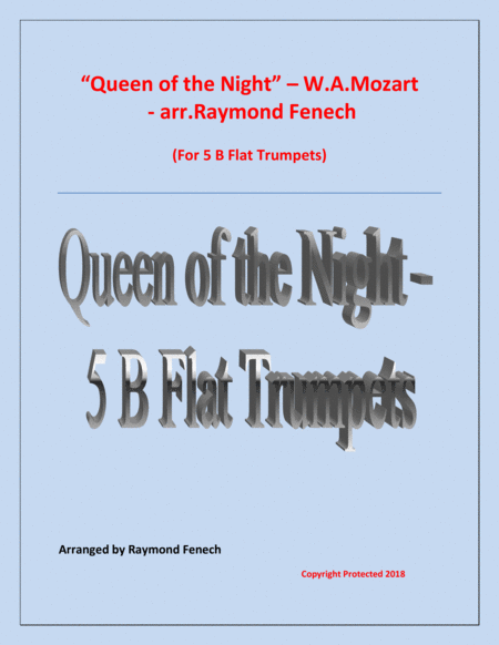 Queen Of The Night From The Magic Flute 5 B Flat Trumpets Quintet