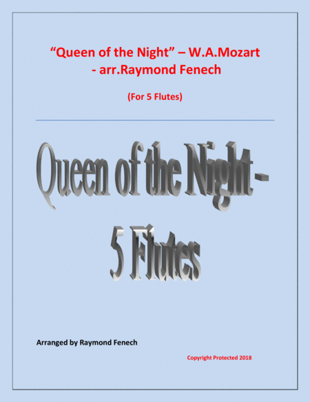 Queen Of The Night From The Magic Flute 5 Flutes Quintet
