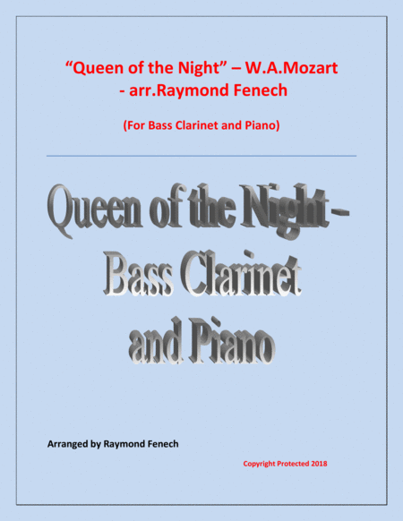 Queen Of The Night From The Magic Flute Bass Clarinet And Piano