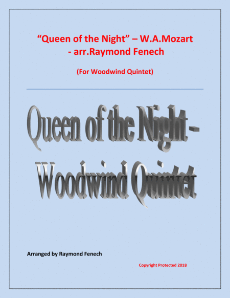 Queen Of The Night From The Magic Flute Woodwind Quintet Flute Oboe B Flat Clarinet Horn In F And Bassoon