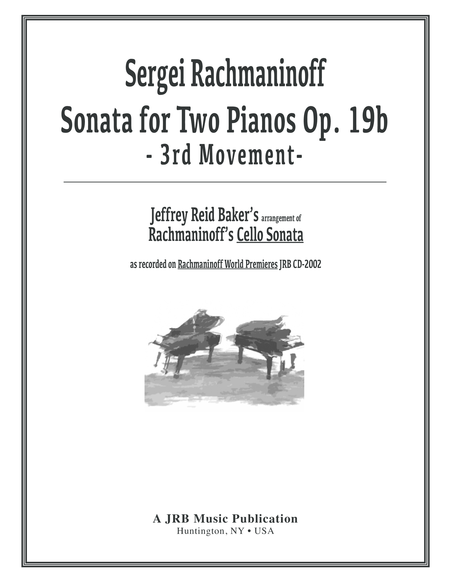 Rachmaninoff Baker Sonata For Two Pianos In G Minor 3rd Movement