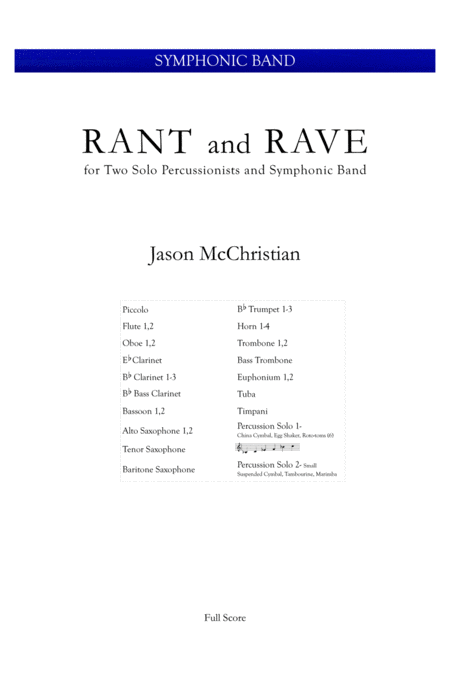 Rant And Rave For Two Percussionists And Symphonic Band