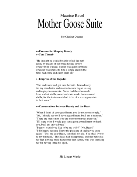 Ravel Mother Goose Suite Selections For Clarinet Quartet