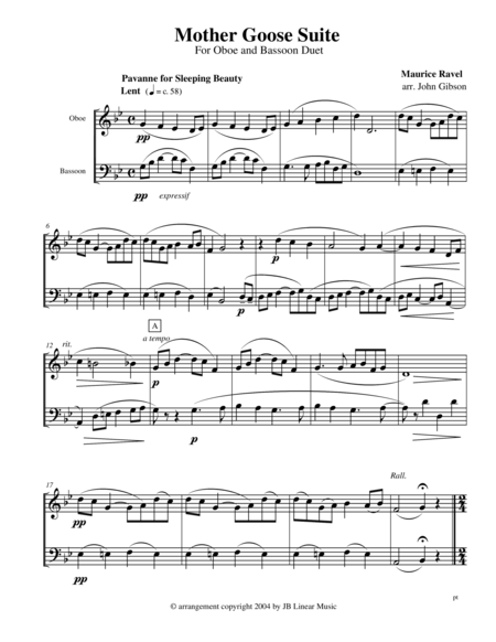 Ravel Mother Goose Suite Selections For Oboe And Bassoon Duet