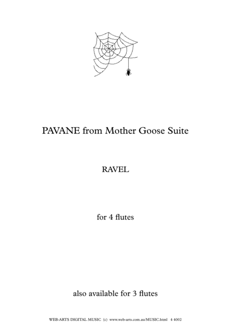 Ravel Pavane From Mother Goose Suite For 4 Flutes