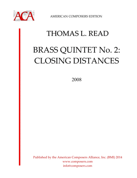 Read Brass Quintet No 2 Closing Distances