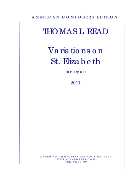 Read Variations On St Elizabeth