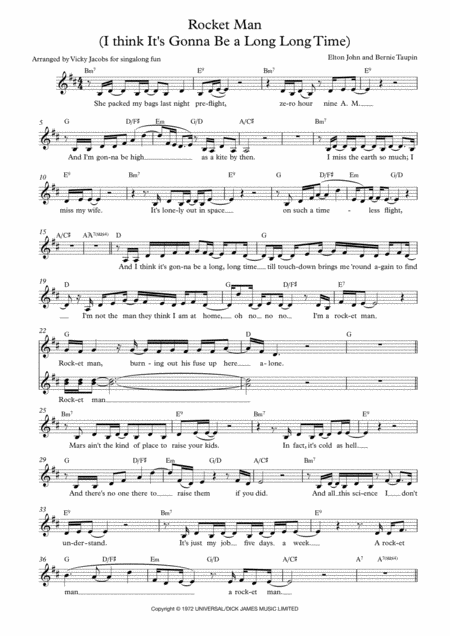 Rocket Man Lead Sheet For Singalongs