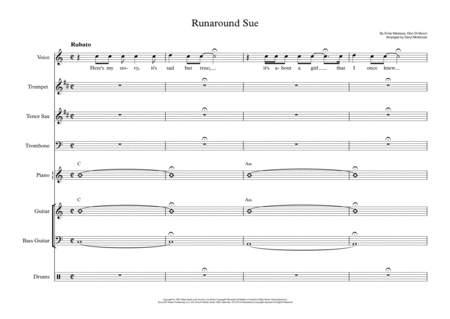 Runaround Sue Vocal With Small Band 3 Horns Key Of C