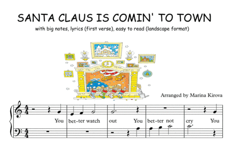 Santa Claus Is Coming To Town Big Notes Easy To Read Format