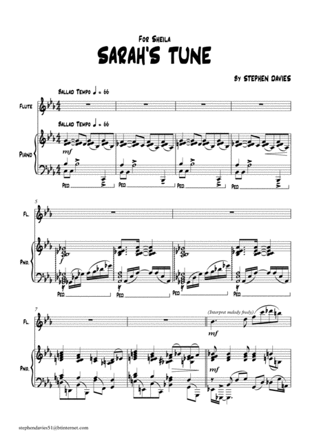 Sarahs Tune By Stephen Davies For Flute Piano