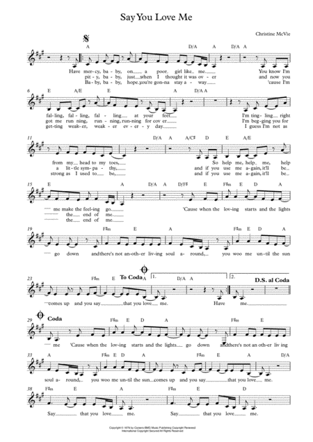 Say You Love Me Lead Sheet For Singalongs