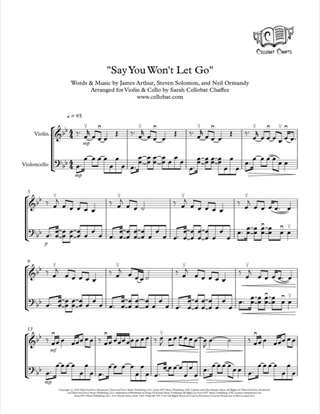 Say You Wont Let Go Violin Cello Duet James Arthur Arr Cellobat Recording Available
