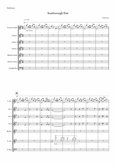 Scarborough Fair Canticle Guitar Ensemble Score