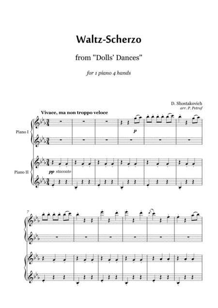 Schostakovich Waltz Scherzo From Dolls Dances Piano 4 Hands