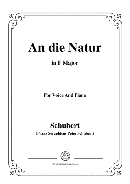 Schubert An Die Natur In F Major For Voice Piano