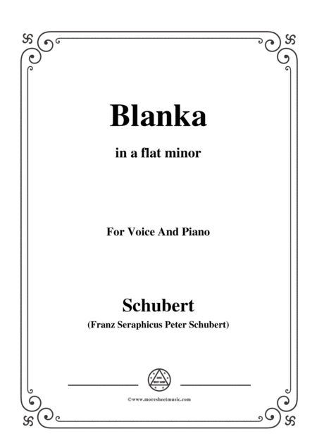 Schubert Blanka In A Flat Minor For Voice Piano