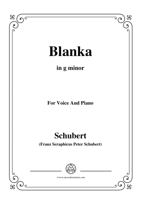 Schubert Blanka In G Minor For Voice Piano
