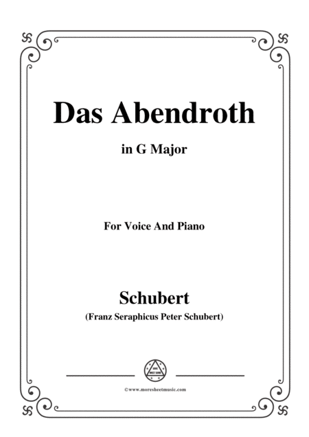Schubert Das Abendroth In G Major Op 173 No 6 For Voice And Piano