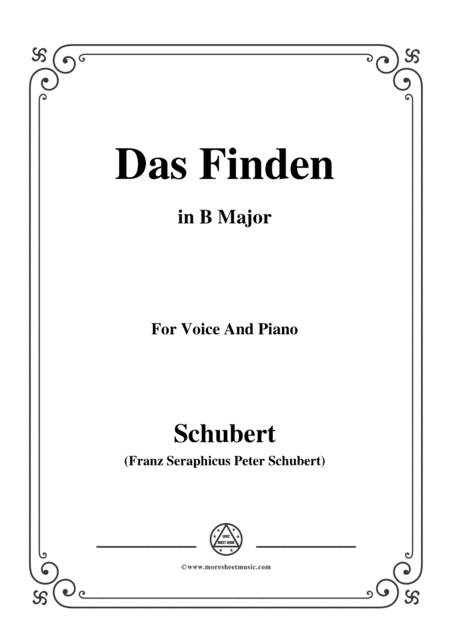 Schubert Das Finden In B Major For Voice Piano