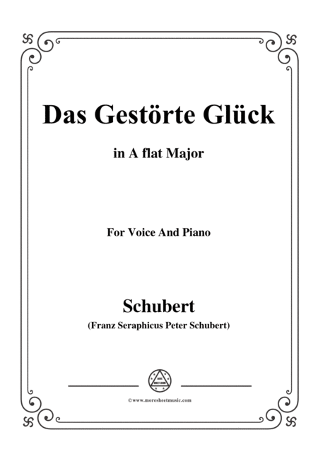 Schubert Das Gestrte Glck In A Flat Major For Voice Piano