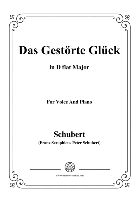 Schubert Das Gestrte Glck In D Flat Major For Voice Piano
