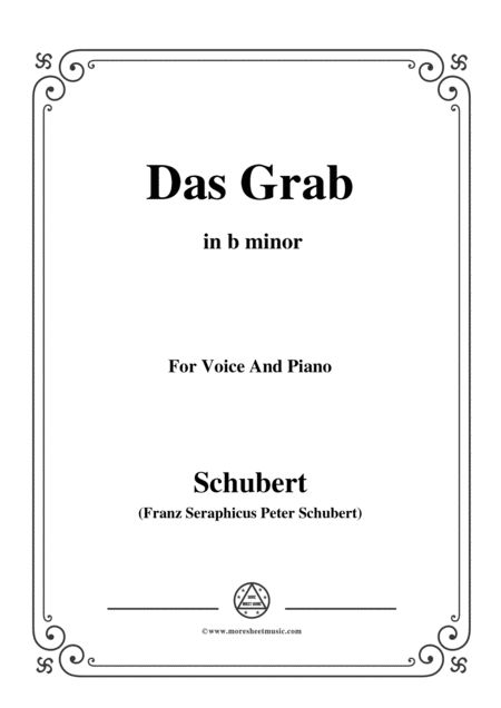 Schubert Das Grab In B Minor For Voice And Piano