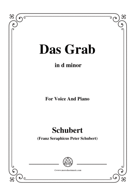 Schubert Das Grab In D Minor For Voice And Piano