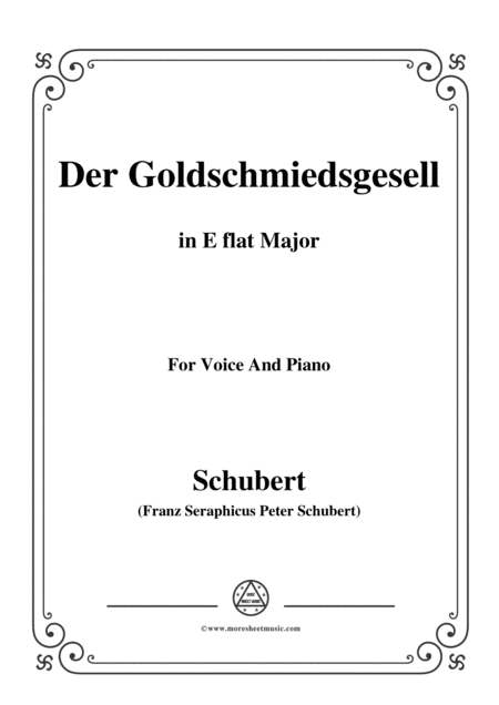 Schubert Der Goldschmiedsgesellc In E Flat Major D 560 For Voice And Piano