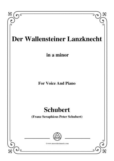 Schubert Der Wallensteiner Lanzknecht In A Minor For Voice Piano