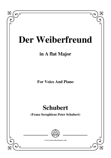 Schubert Der Weiberfreund The Philanderer D 271 In A Flat Major For Voice Piano