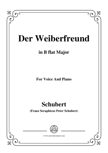 Schubert Der Weiberfreund The Philanderer D 271 In B Flat Major For Voice Piano
