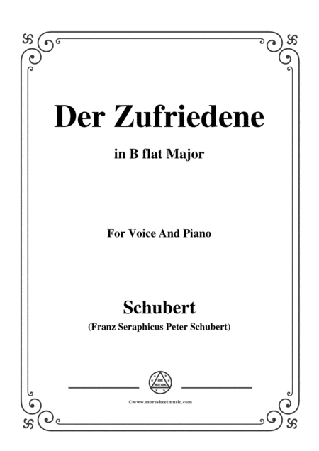 Schubert Der Zufriedene In B Flat Major For Voice Piano