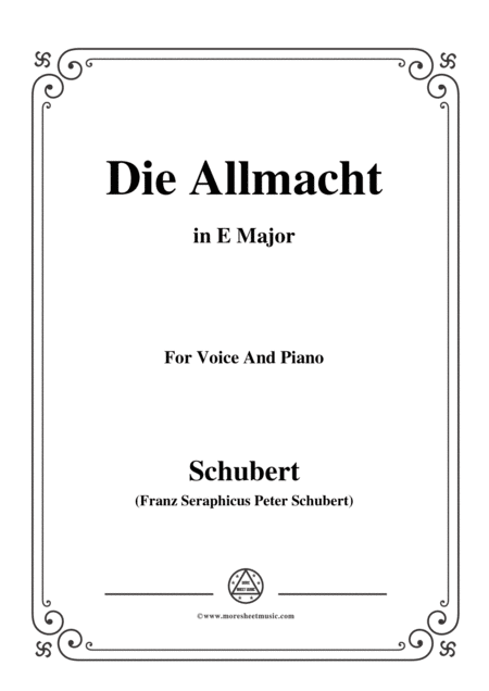 Schubert Die Allmacht Op 79 No 2 In E Major For Voice Piano