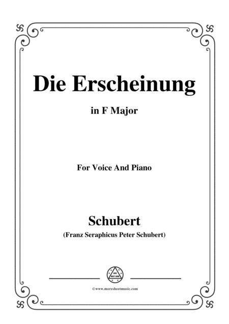 Schubert Die Erscheinung Op 108 No 3 In F Major For Voice Piano