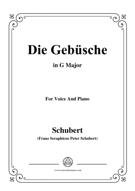 Schubert Die Gebsche In G Major For Voice Piano