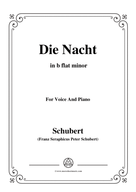 Schubert Die Nacht In B Flat Minor D 534 For Voice And Piano